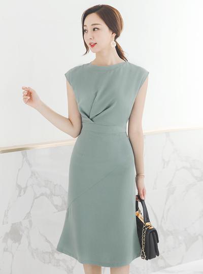 芬奇 褶皱 法式 袖子 美人鱼 连衣裙