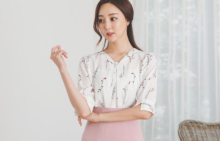 花纹 珍珠扣 细褶 罩衫