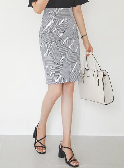 条纹 图案 H字型 棉 裙子