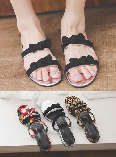 小方 蝴蝶结 透明 拖鞋