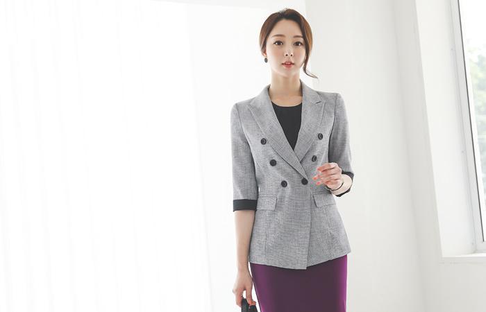 凉爽 质地 衣袖配色 双排扣 夹克