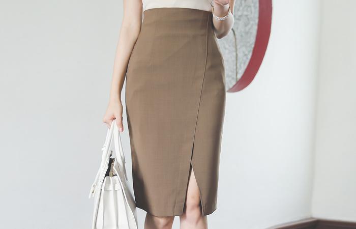 缝线 斜线 开叉 高 弹力 裙子