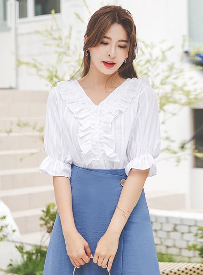 荷叶边装饰 条纹 棉 罩衫