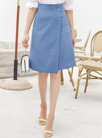 木纹扣子 不规则 A字型 裹身 裙子
