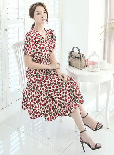 Rose Garden Rap长款连衣裙