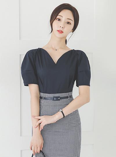 浪漫 心形领 泡泡袖 棉 罩衫