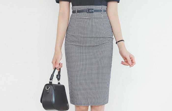 格子花纹 H字型 束带 裙子