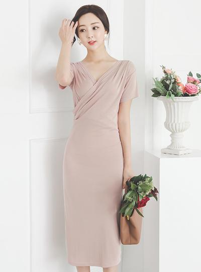 自然 莫代尔 交叉领 弹力 长款连衣裙