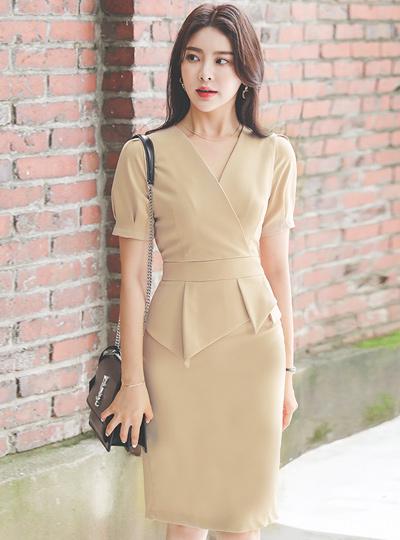 裹身 袖子细褶 不规则 荷叶边 连衣裙