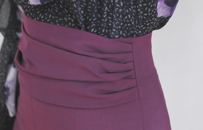 华丽 褶皱 开衩 弹力 裙子