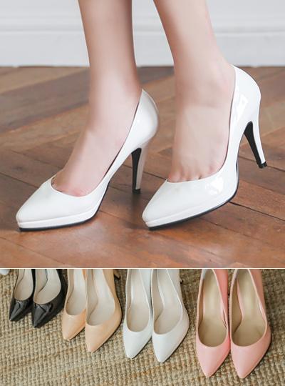 前跟 漆皮 简单 鞋垫 超高跟
