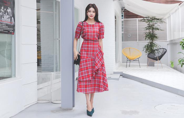 不对称褶裥饰边 A字型 苏格兰格子 长款 连衣裙