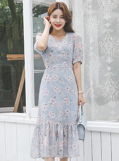 植物花纹雪纺褶裥连衣裙