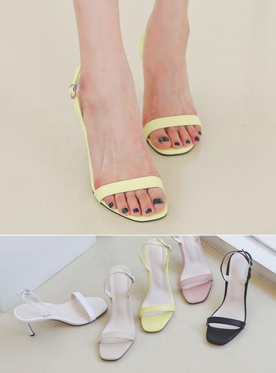 [模特穿37次]简单 方形 夏天 高跟凉鞋
