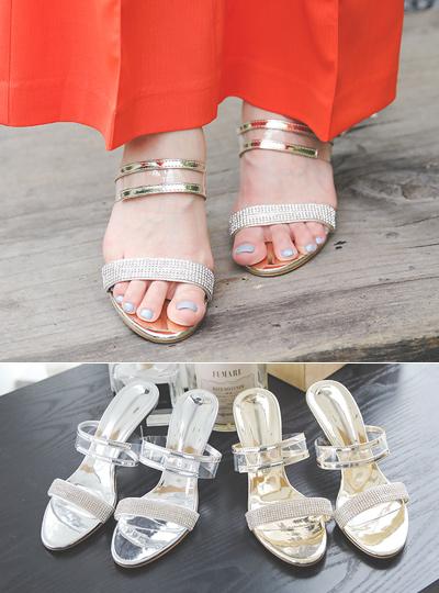 [模特穿37次]镶钻 透明 皮条/束带 奢华裙 拖鞋
