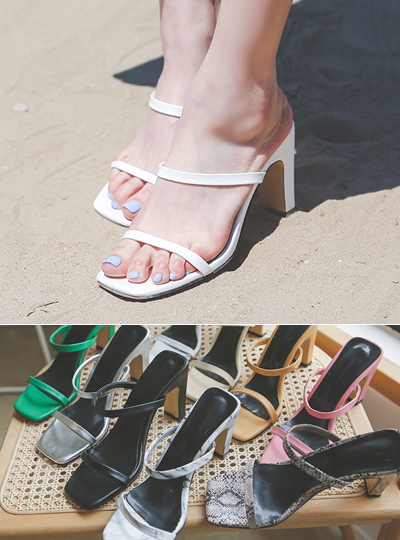 [模特穿37次]日常 颜色 双束带 拖鞋