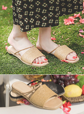 [模特穿37次]藤条 皮条/束带 方形 拖鞋