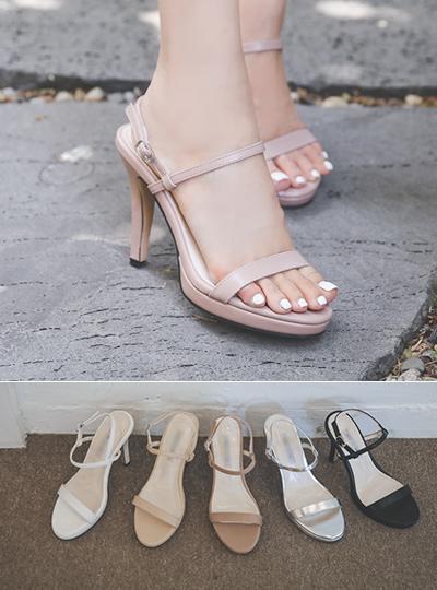 [模特穿37次]前跟 简约系带 高跟凉鞋
