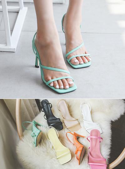 [模特穿37次]方形线条 颜色 皮条/束带 高跟鞋