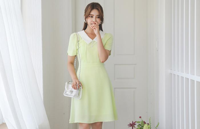 配色 平领 喇叭 连衣裙