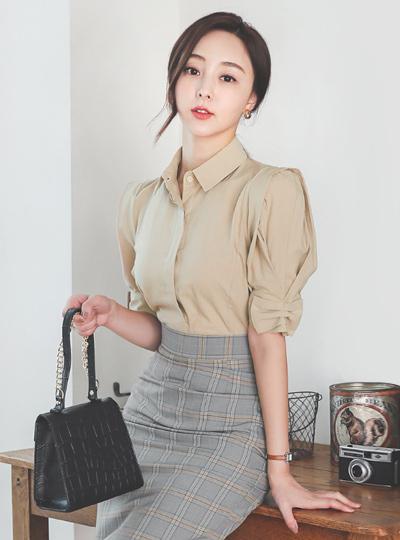 蝴蝶结 泡泡袖 棉 衬衫 罩衫