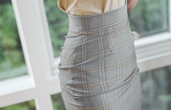 侧纽 褶皱 格子配色 中长 裙子