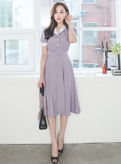 披巾领 圆点 喇叭 长款 配色 连衣裙