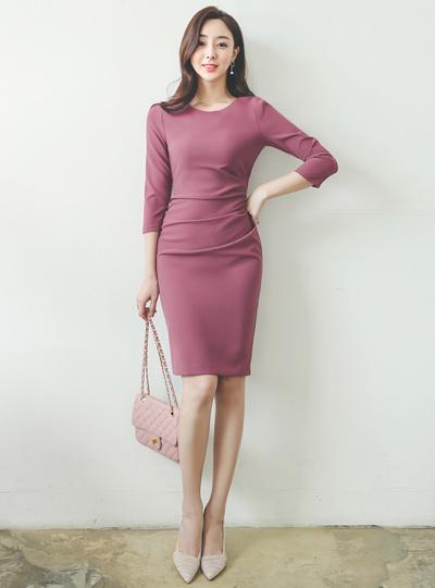 悬垂式 褶皱 连衣裙(fall)