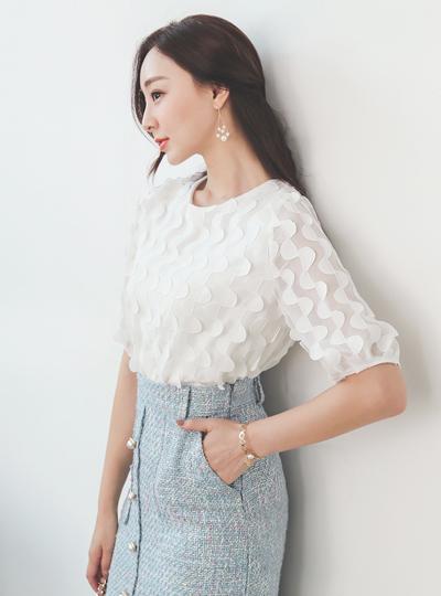 浪漫 半月形 雪纺 罩衫