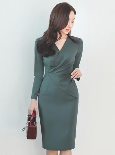 褶皱 折叠V领 束带 荷叶边 弹力 连衣裙