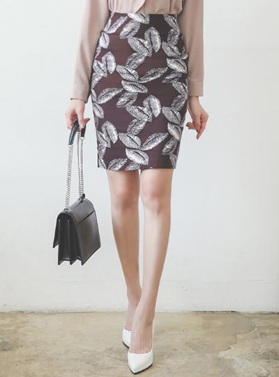 叶子 速写 棉弹力 H字型 裙子