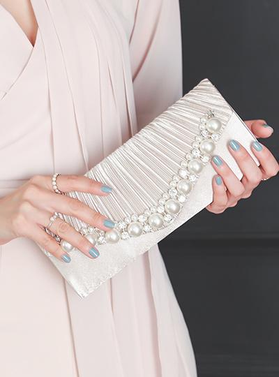 去皱纹 珍珠&镶钻 缎子 手拿包