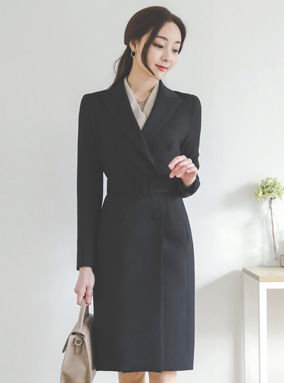 古典 修身 双 合身定制 长款夹克