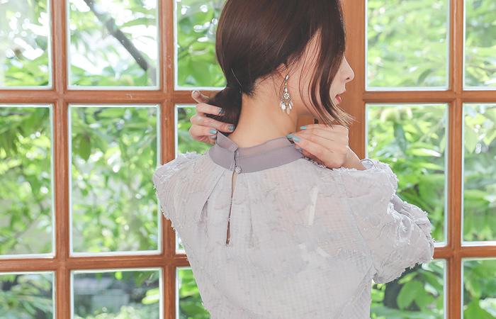 流苏 高龄 宽松袖 蝴蝶结 罩衫