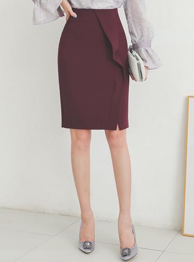 二重 不对称斜线 H字型 弹力 裙子