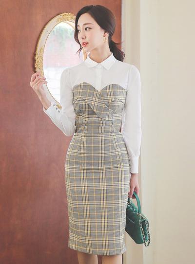 衬衫 分层 格伦 格子 连衣裙