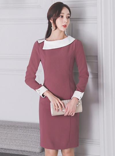 不规则 平领 配色 珍珠 连衣裙