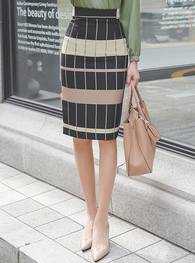多砌块 格子 配色 修身 裙子