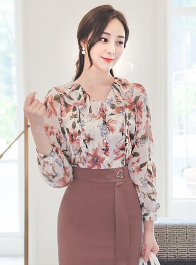 荷叶边线条 花纹 印染 珍珠 罩衫