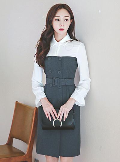 迷人的袖子斜色连衣裙