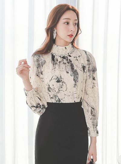 花纹 烟熏 高龄 弹力 蕾丝 罩衫