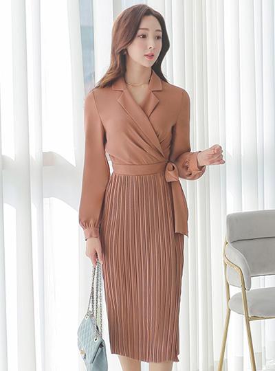 裹身风格 细褶 褶边 修身 连衣裙
