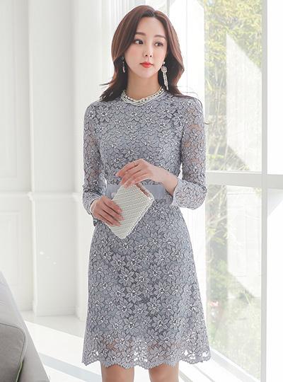 浪漫 花纹 蕾丝 A字型 连衣裙