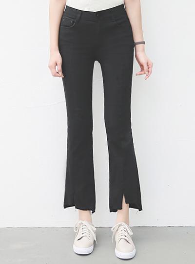 针锡线切口鞋型裤短