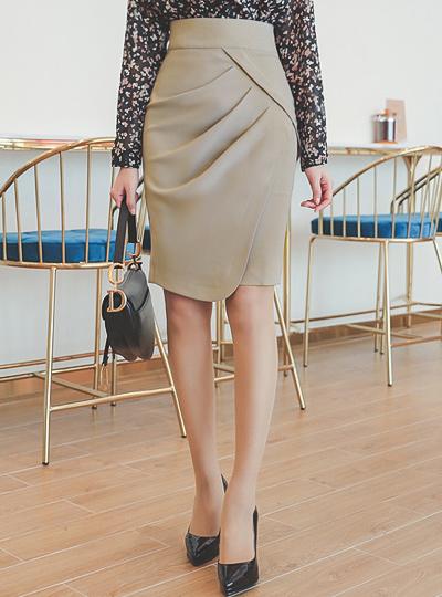 华丽 褶皱 圆领 开衩 裙子