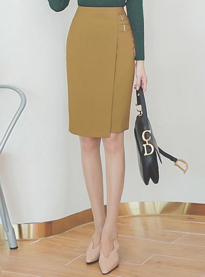 双 带扣 装饰 裹身 裙子