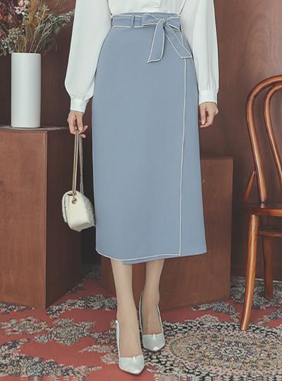 缝线 束带 开叉 长款 裙子