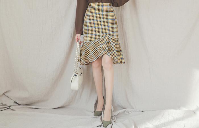 不规则 荷叶边线条 犬牙格子花纹 格子 裙子