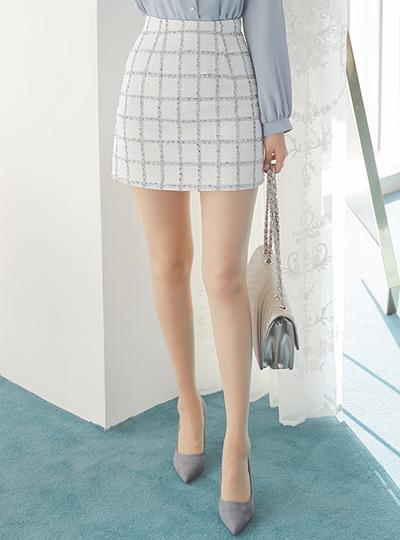 长方格 格子 粗呢 迷你裙