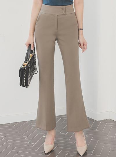 侧纽 两种 扣子 高 喇叭 宽松长裤
